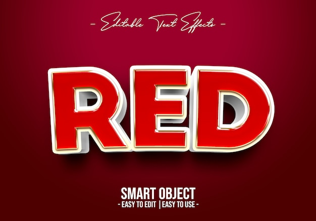 Red text style effect Premium Psd