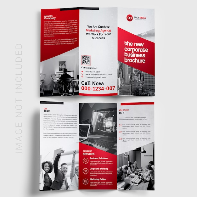 Red trifold brochure Premium Psd