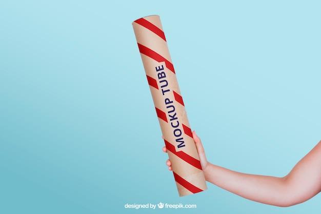 Free PSD | Red tube mockup