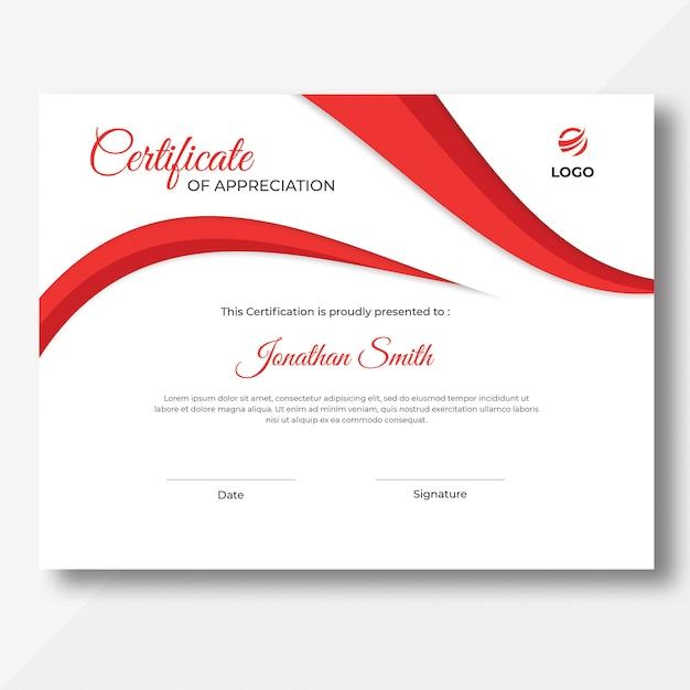 Red waves certificate design template Premium Psd