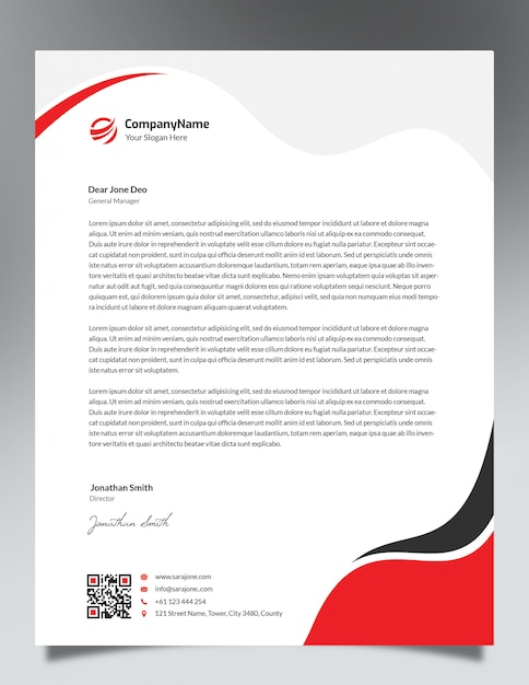 Red Waves Letterhead Template Design