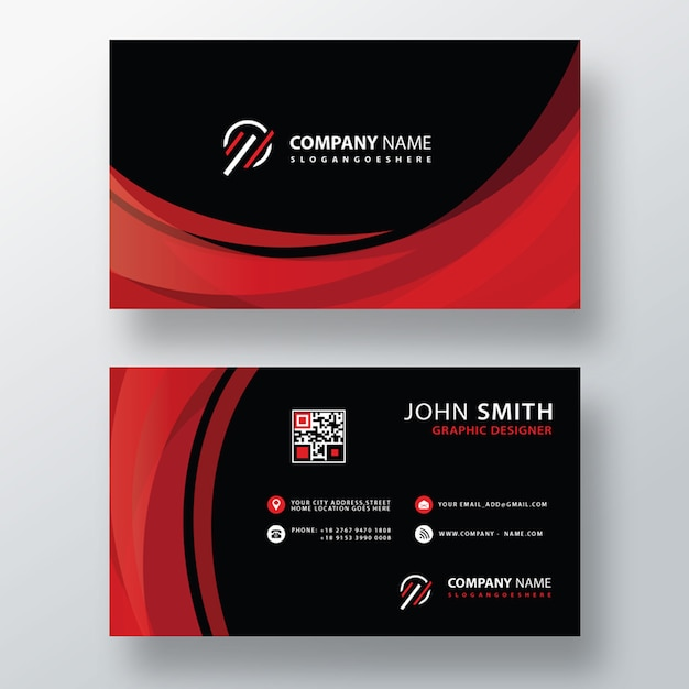Red wavy business card layout Free Psd