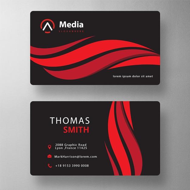 赤い波状のプロのpsd訪問カード 無料 Psd