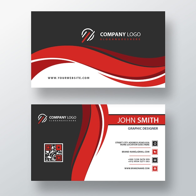 Red wavy psd business card template Free Psd