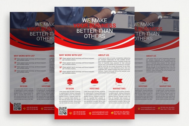 Red and white business brochure Free Psd
