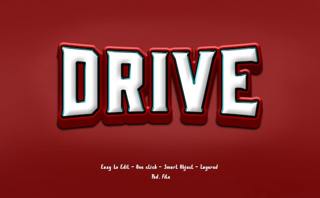 Red and white text effect style 3d Premium Psd
