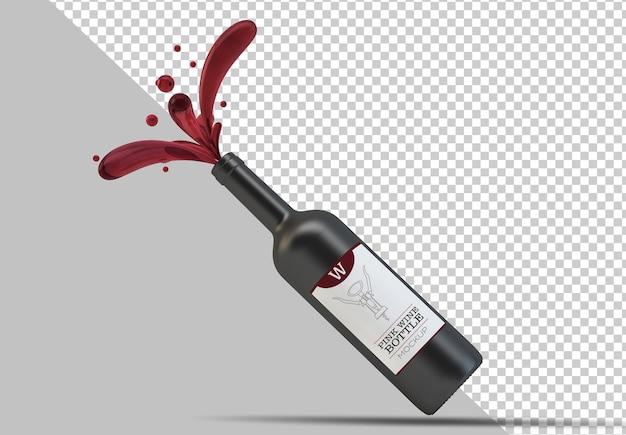 Макет бутылки красного вина с плавающими изолированными каплями Premium Psd