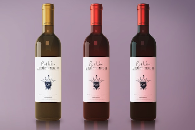 Red wine bottle mockup Premium Psd