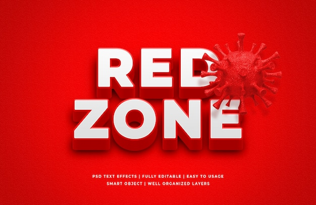Red zone corona virus 3d text style effect Premium Psd