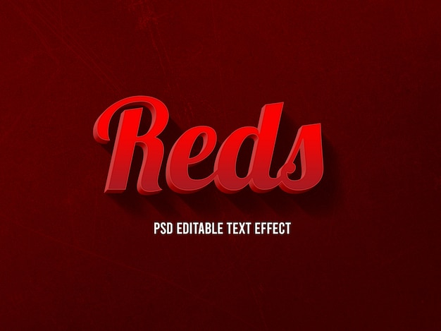 Reds, редактируемый стиль 3d text effect Premium Psd