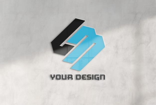 Reflecting logo on office concrete wall mockup Premium Psd