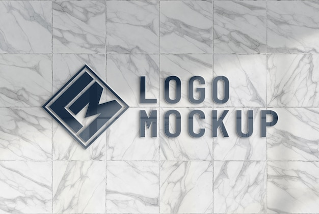 Reflecting logo on office marble wall mockup Premium Psd