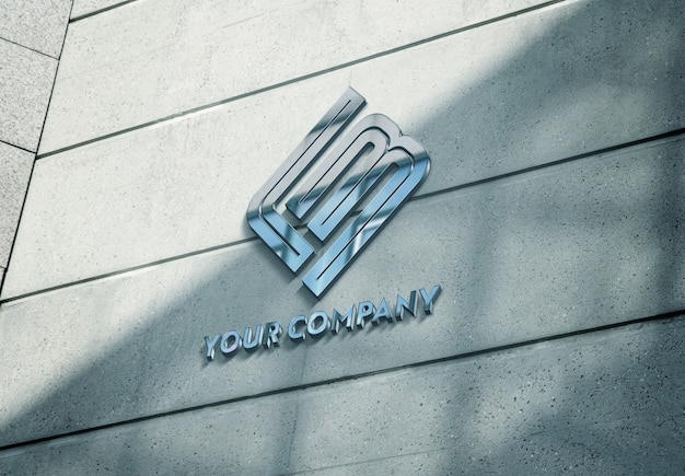 Reflecting metallic logo on building facade mockup Premium Psd