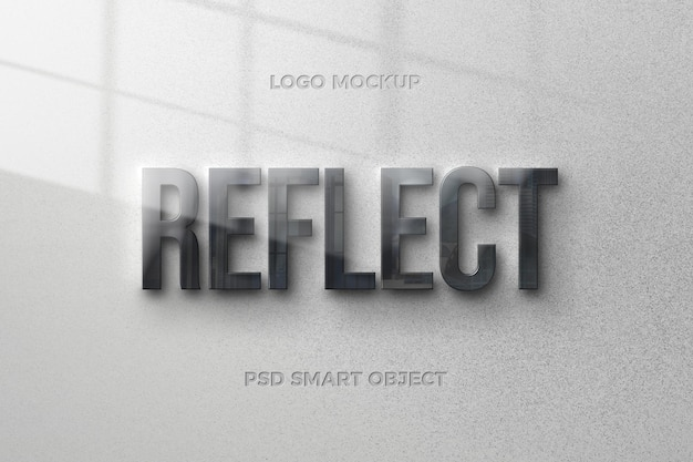 Reflection text style effect with text template design Premium Psd