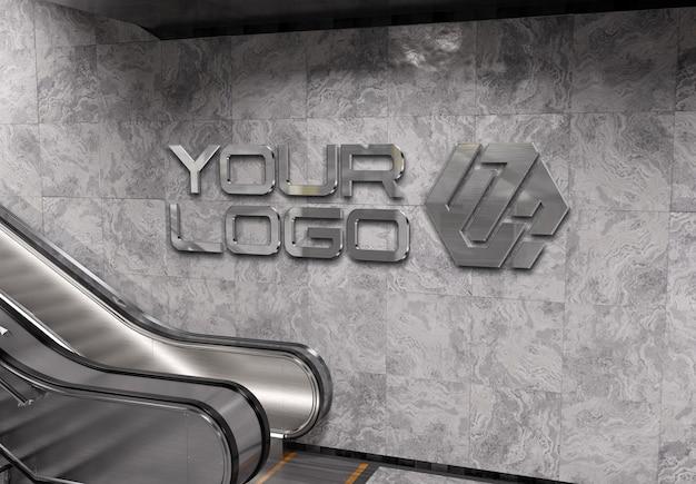 지하철 역 벽 모형에 반사 3d 로고 프리미엄 PSD 파일