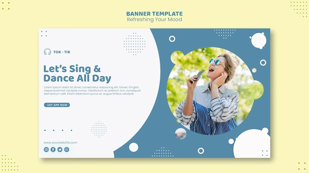 Refresh your mood banner template Free Psd