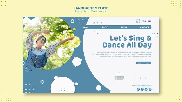 Refresh your mood landing page template Free Psd