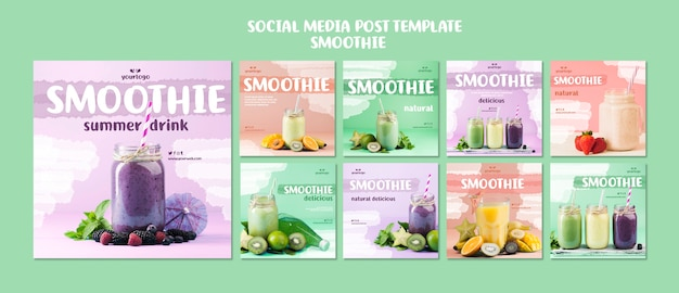 Refreshing smoothie social media posts Premium Psd