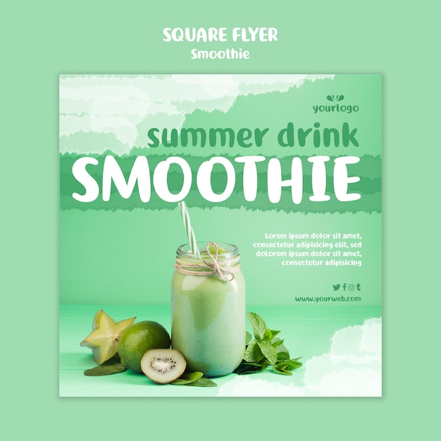Refreshing smoothie square flyer template with photo Free Psd