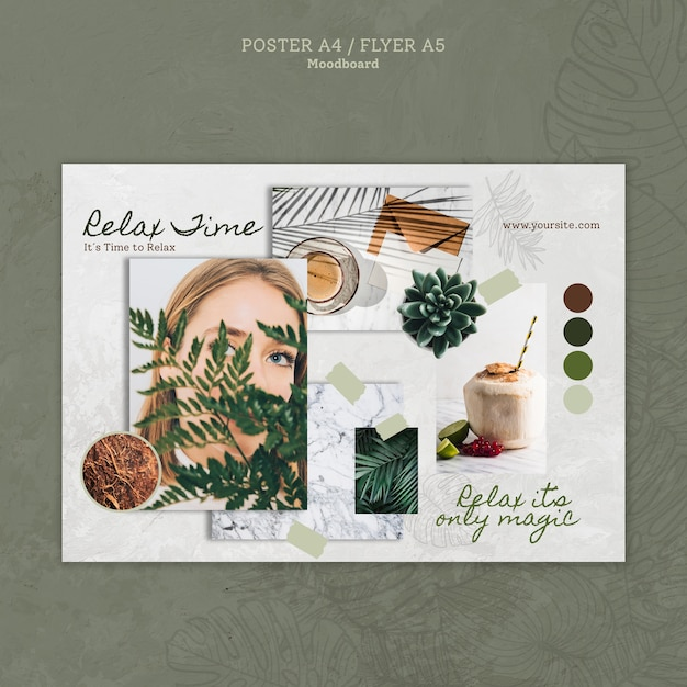 Relax time flyer with woman and leaves Free Psd