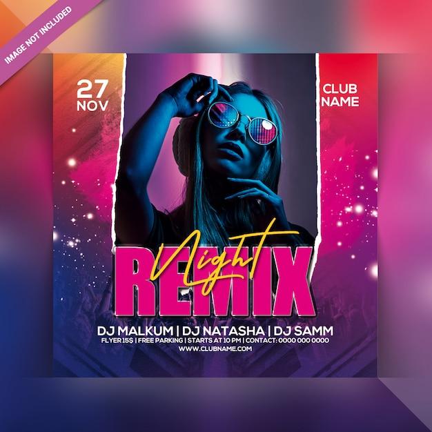 Remix night party flyer Premium Psd