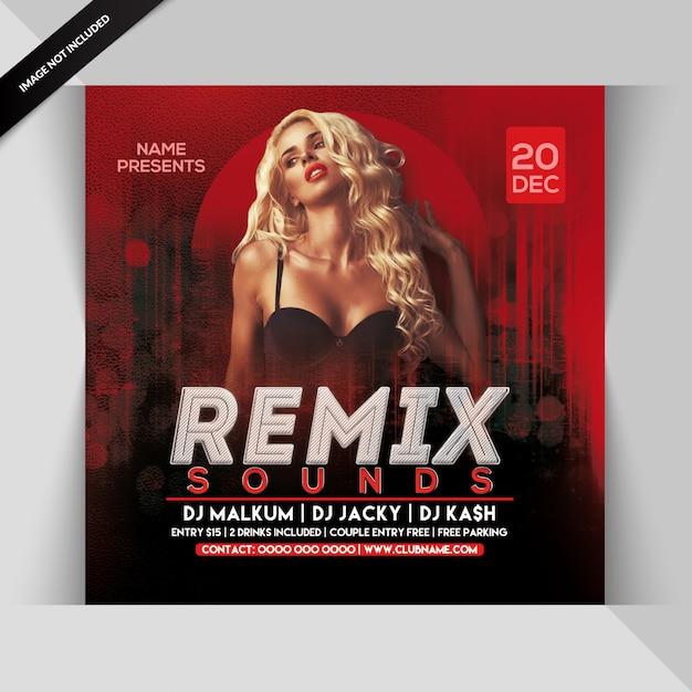 Remix sounds party flyer Premium Psd