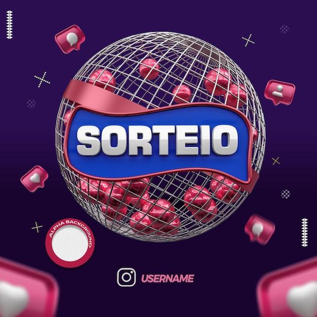Render 3d globe of raffle instagram campaign in brazil Premium Psd