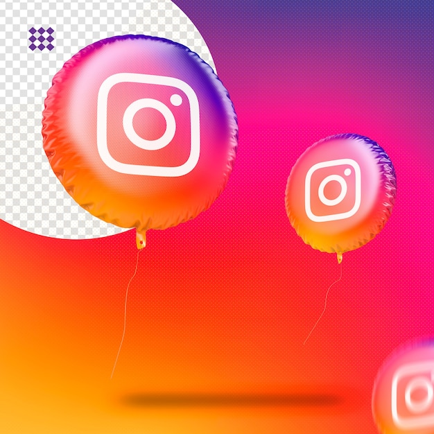 Render balloon instagram icon for social media decoration Premium Psd