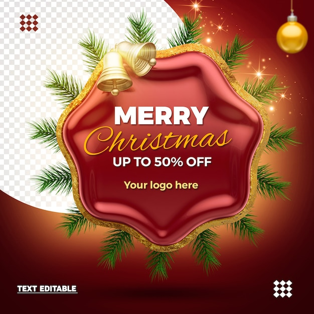 Render christmas logo with discont isolated Premium Psd