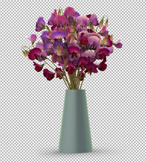 Render of isolated plant. potted flowers. isometric front view.  3d. scene creator. Premium Psd