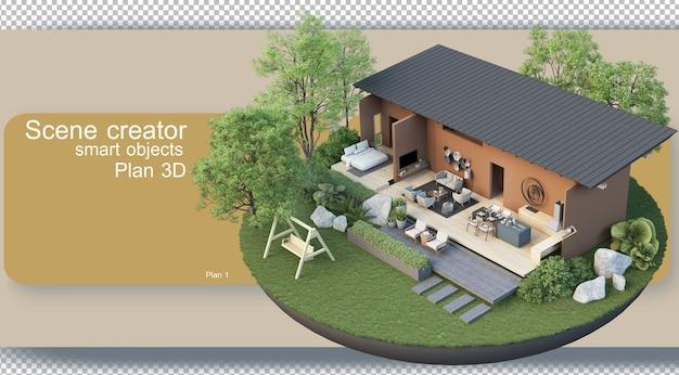 建築計画と室内装飾のレンダリング Premium Psd