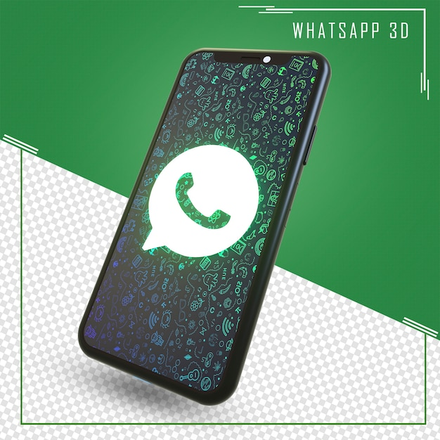 Rendering of mobile with whatsapp icon Premium Psd