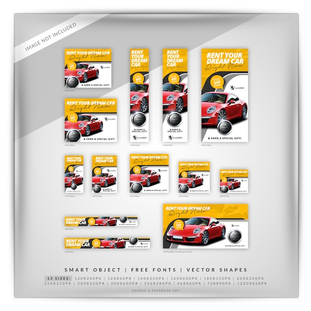 Rent a car banner set Premium Psd
