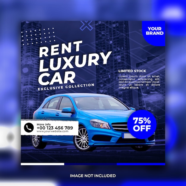Rent car social media banner template Premium Psd