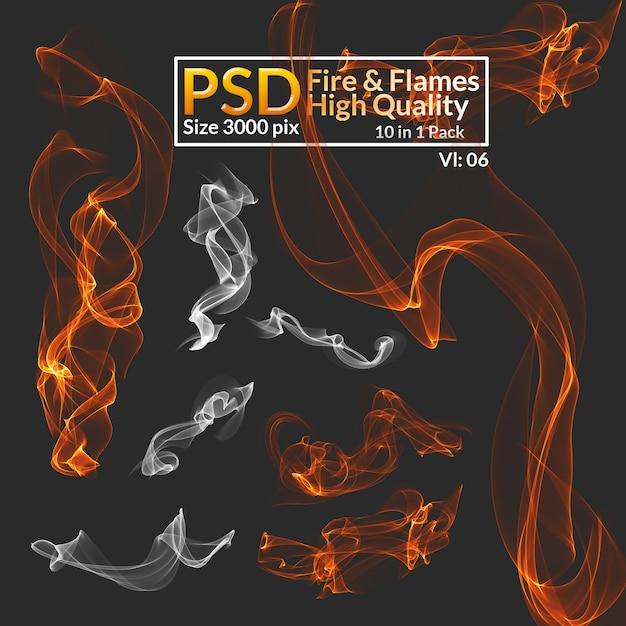 Привет-res изолированные огонь и дым Premium Psd