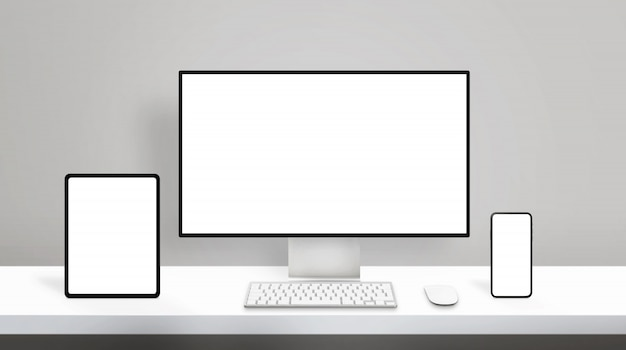 Responsive design on modern different display devices mockup. computer display, tablet and smart phone on clean office desk Premium Psd