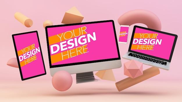3d装飾で浮かぶレスポンシブデバイスのモックアップ Premium Psd