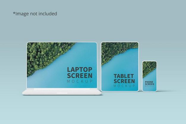Мокап адаптивных устройств с ноутбуком, планшетом и телефоном Premium Psd