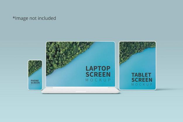 Мокап адаптивных устройств с телефоном, ноутбуком и планшетом Premium Psd
