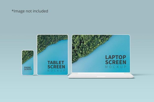 Мокап адаптивных устройств с телефоном, планшетом и ноутбуком Premium Psd