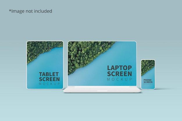 タブレット、ラップトップ、および電話を使用したレスポンシブデバイスのモックアップ Premium Psd