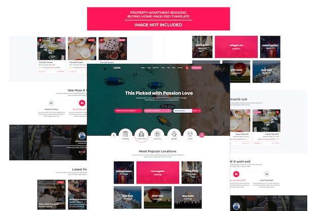 Responsive travel booking site  template landing page Premium Psd