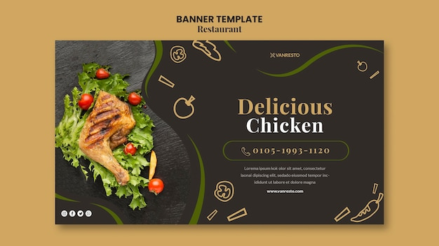Restaurant ad banner template Free Psd
