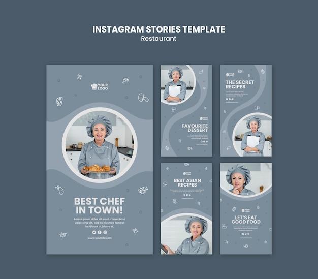 Шаблон истории ресторана instagram Бесплатные Psd