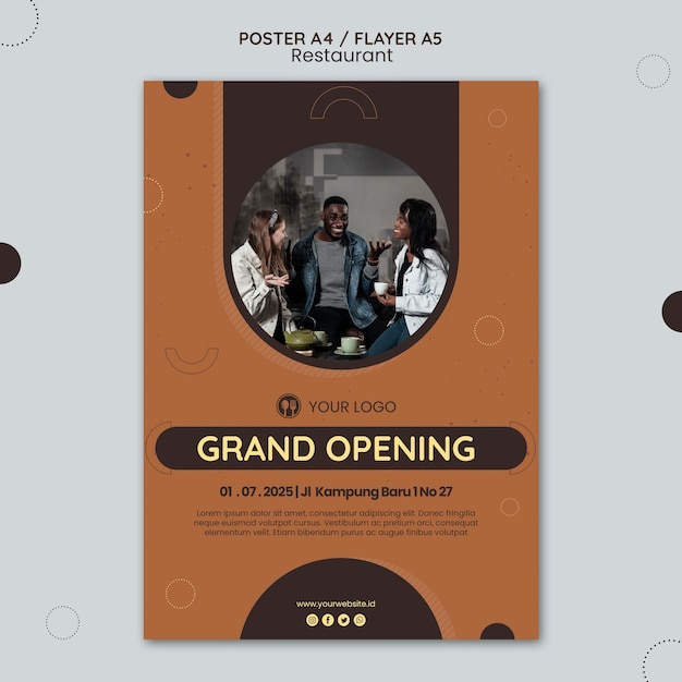 Poster modello di annuncio del ristorante Psd Gratuite