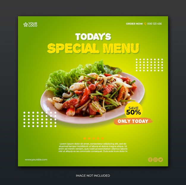 Restaurant banner and food menu social media post template Premium Psd