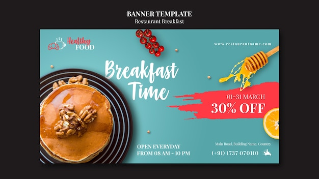 Restaurant banner template with discount Free Psd