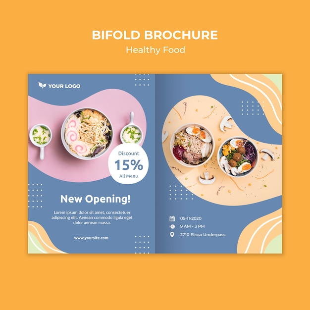 Restaurant brochure template design Free Psd