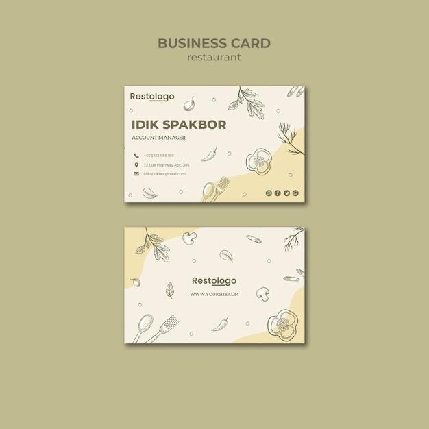 Restaurant business card template Free Psd