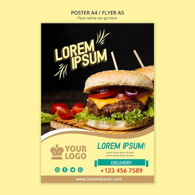 Restaurant flyer menu template with burger Free Psd
